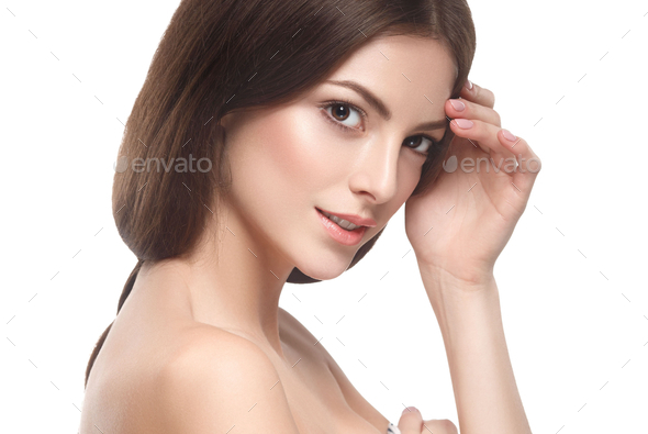 Beautiful brunette healthy skin woman - Stock Photo - Images