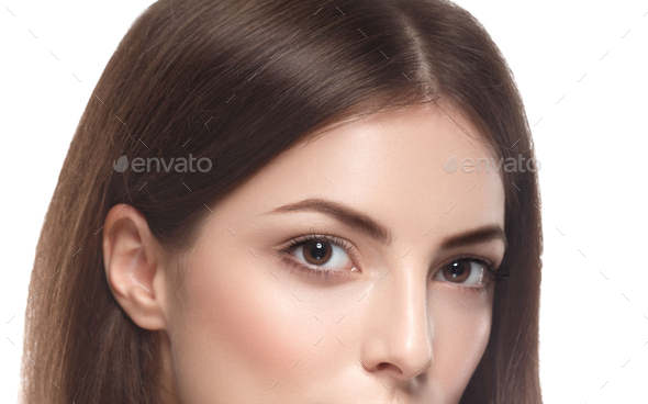 Happy beautiful woman studio face portrait - Stock Photo - Images
