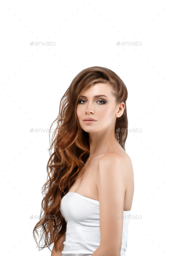 Long beautiful hair woman isolated on white cosmetic portrait - Stock Photo - Images