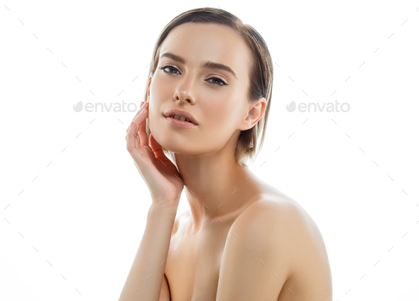 Beautiful woman portrait with fresh daily make-up blonde hair and healthy skin - Stock Photo - Images