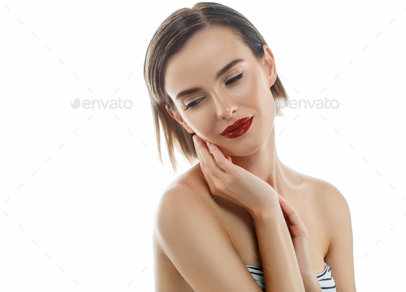 Blonde female bright red lips looking camera smiling. Shine nude makeup Isolated white background - Stock Photo - Images
