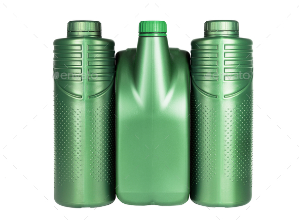 Green Plastic Containers for Engine Lubricants - Stock Photo - Images