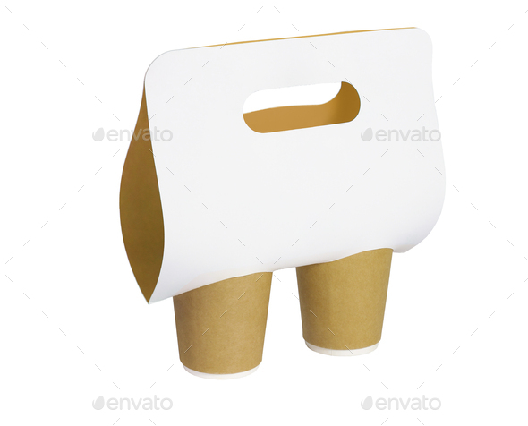 Paper Cups and Holder With Handle - Stock Photo - Images