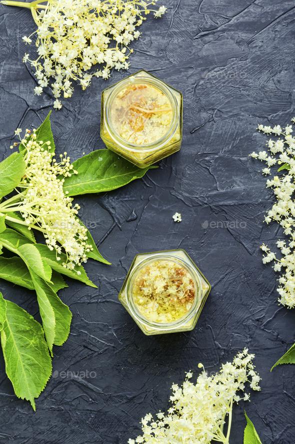 Elderberry flowers in herbal medicine. - Stock Photo - Images