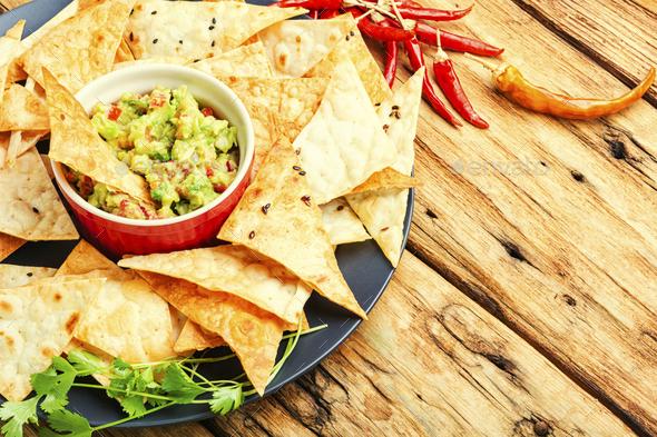 Guacamole,mexican avocado appetizer - Stock Photo - Images
