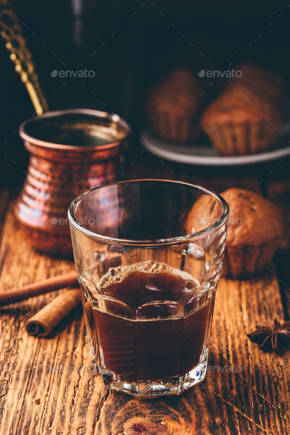 Turkish coffee with spices and muffins - Stock Photo - Images
