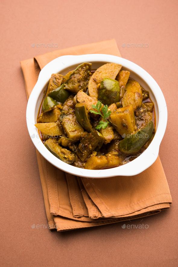 Aloo Baingan Masala / Potato Eggplant Sabzi - Stock Photo - Images