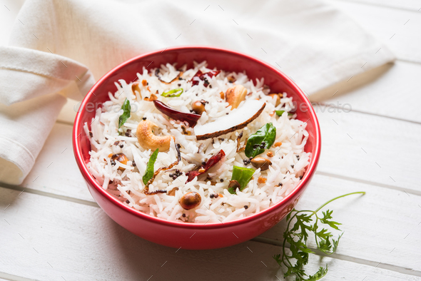 Coconut Rice Using Leftover Rice - Stock Photo - Images