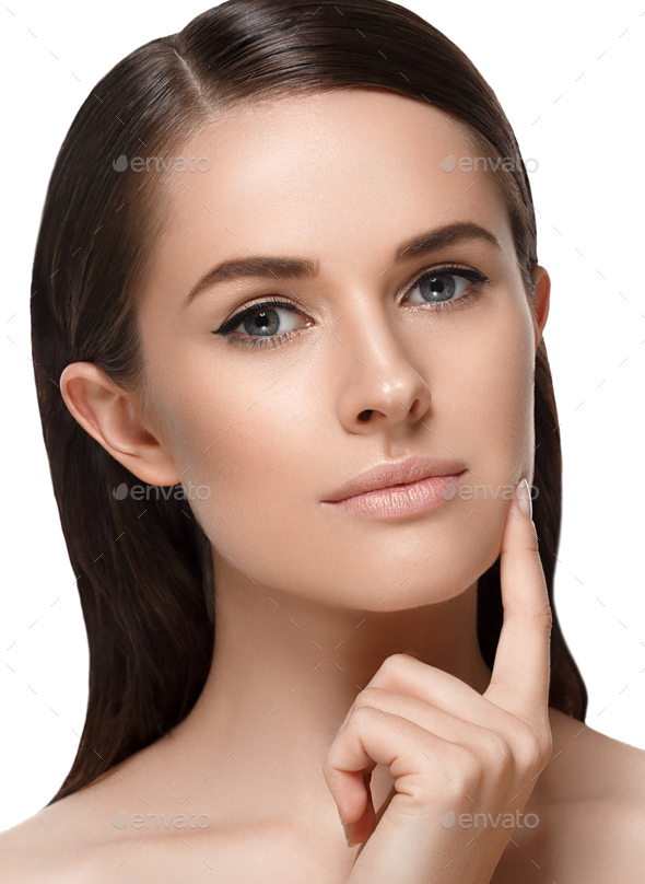 Woman with skin healthy soft and beauty is touching her face. Skincare concept. - Stock Photo - Images
