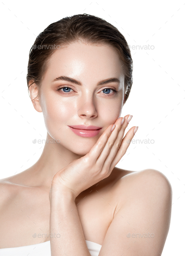 Fresh skin healthy hair woman clean natural makeup isolated on white cosmetic concept with hands - Stock Photo - Images