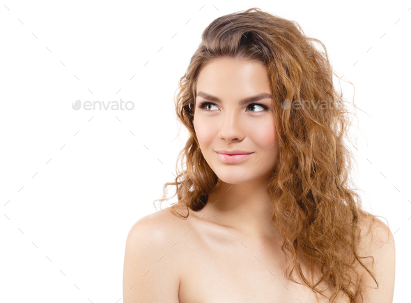 Curly hair beauty woman portrait isolated on white - Stock Photo - Images
