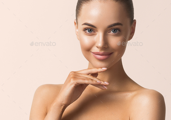 Beauty face woman macro tanned healthy skin - Stock Photo - Images