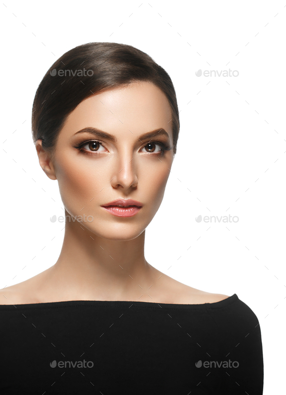 Woman fashion make up black dress close up portrait - Stock Photo - Images