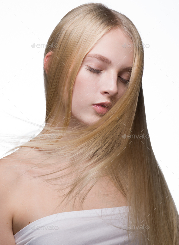 Smooth longhair woman blond natural healthy hair beauty portrait - Stock Photo - Images