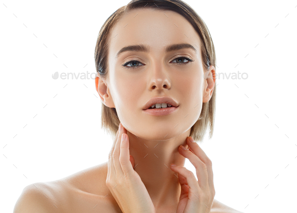 Beauty Woman face with hands. Portrait. Beautiful Spa model Girl with Perfect Fresh Clean - Stock Photo - Images
