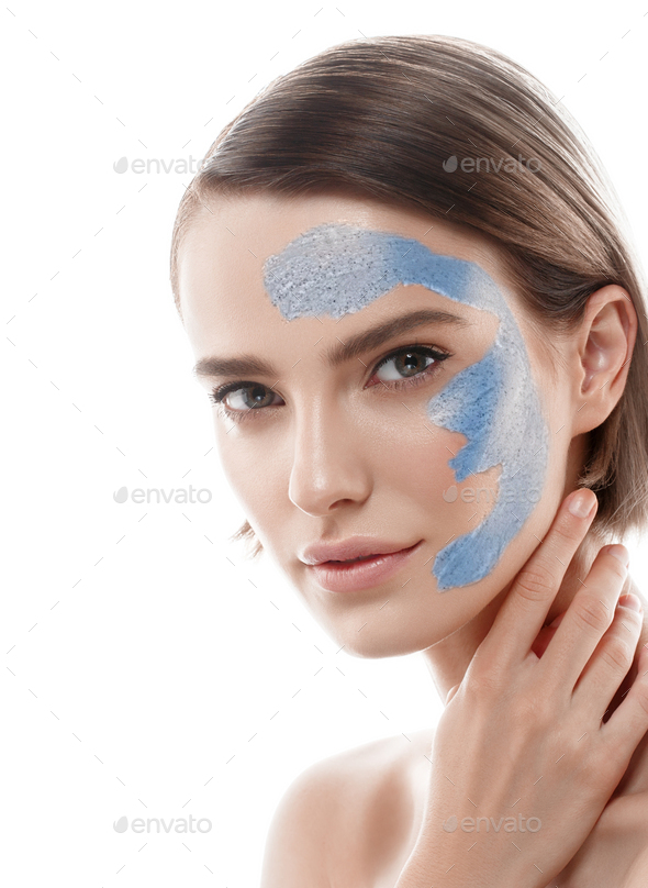 Woman spa mask black half-face beauty concept. - Stock Photo - Images