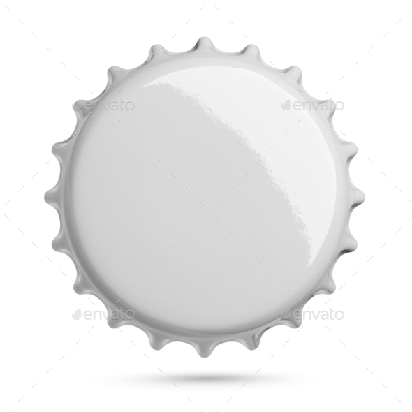 Empty gray metal soda or beer cap isolated on white. - Stock Photo - Images