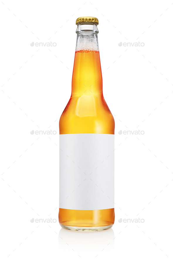 Transparent beer bottle isolated on white background. - Stock Photo - Images