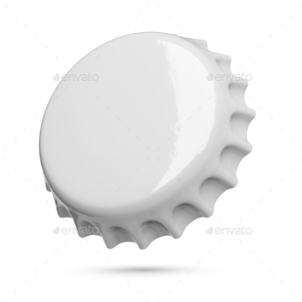 Gray metal soda or beer cap isolated on white background. - Stock Photo - Images