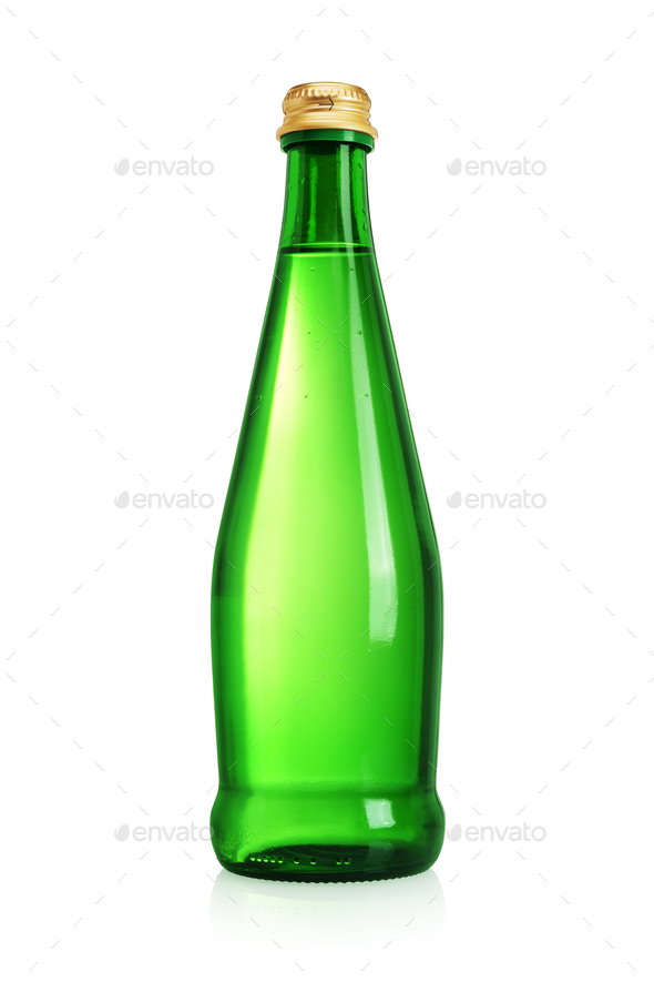 Green glass bottle with water without label isolated on white. - Stock Photo - Images