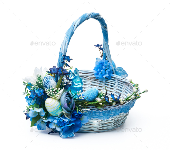 Festive basket with a flower arrangement on white background - Stock Photo - Images