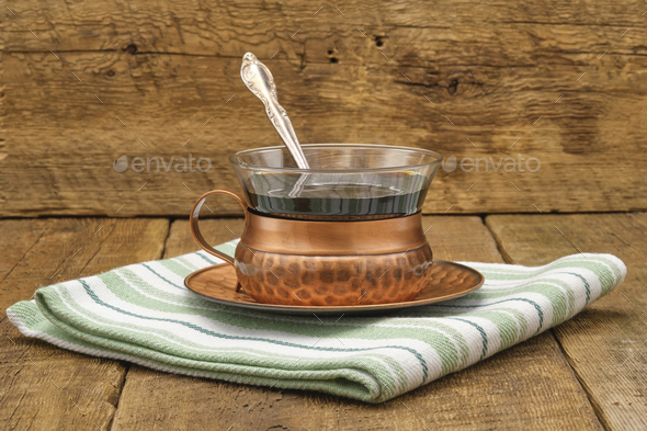 Rustic Coffee with Silver Spoon - Stock Photo - Images