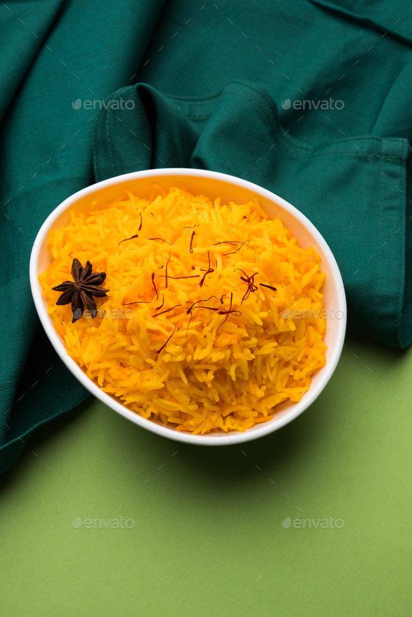 Saffron Rice or Kesar Chawal or Bhat - Stock Photo - Images