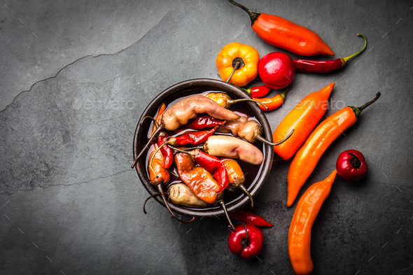 Latin American escabeche - fermented chili pepper. Spicy marinated chili - Stock Photo - Images
