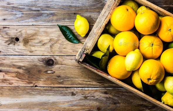 Box of fresh citrus lemon and orange with leaves. Top view - Stock Photo - Images