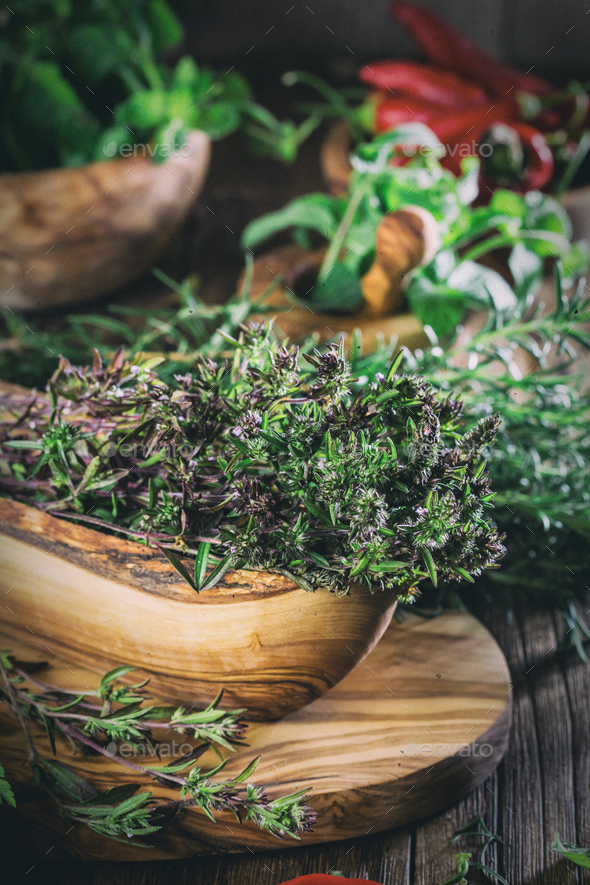 Fresh herbs - thyme, rosemary, chili, mint, parsley - Stock Photo - Images