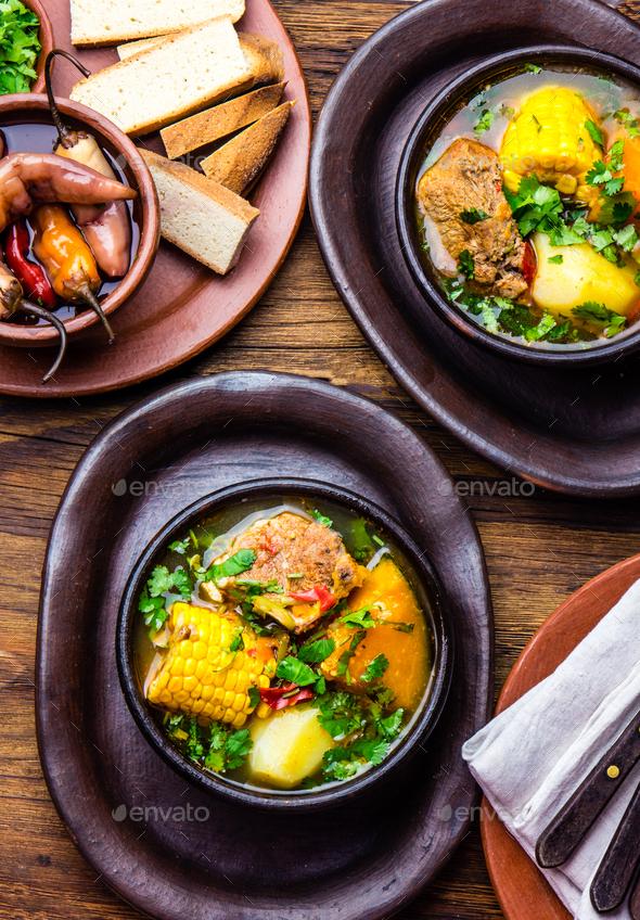 Latin American food. Traditional chilean pork soup cazuela. Cazuela Chilena - Stock Photo - Images