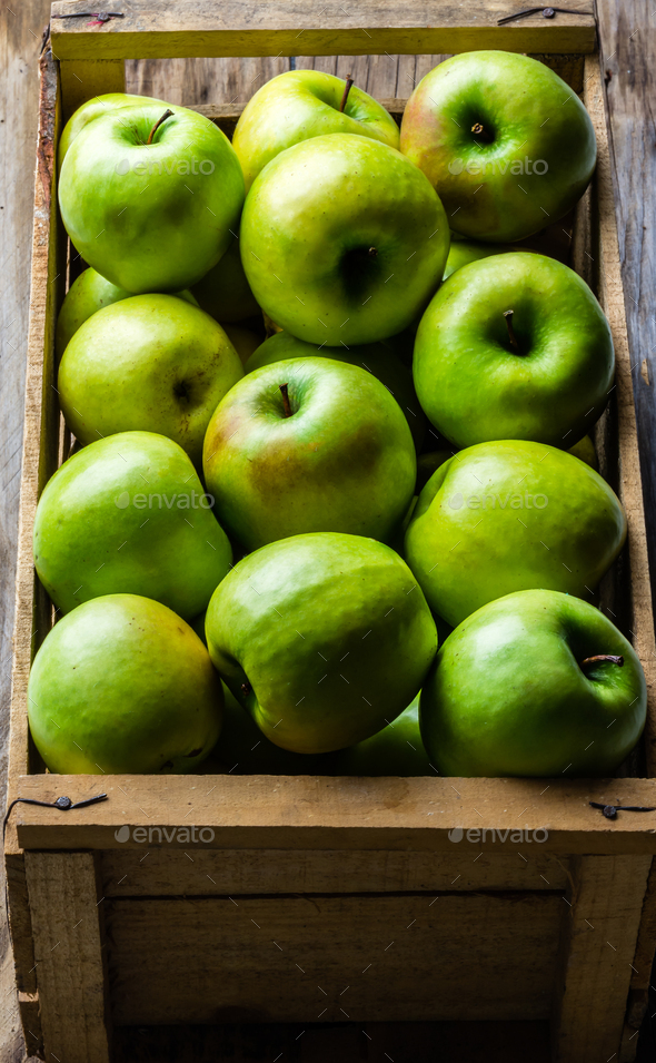 Box of fresh green apples. Harvest concept. Top view - Stock Photo - Images