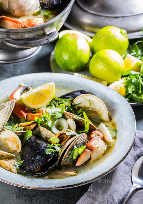 Seafood clams crabs mussela soup. Mariscal - Stock Photo - Images
