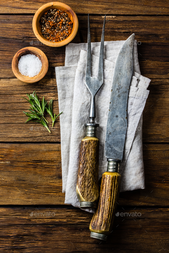 Cooking background concept. Vintage cutlery, spices on wooden background. - Stock Photo - Images