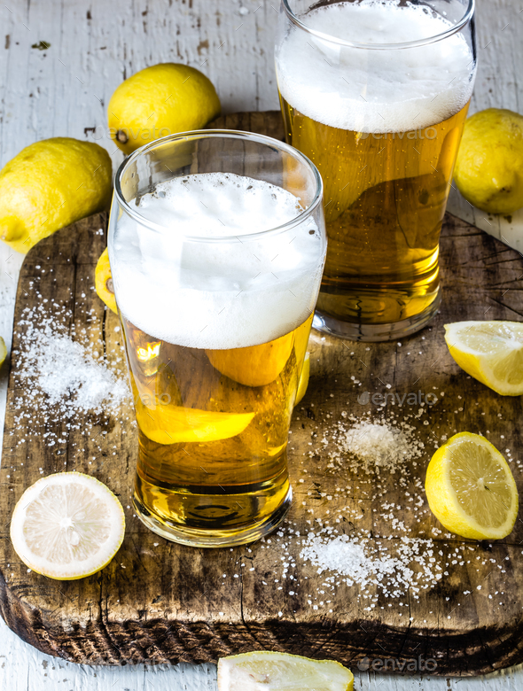 Ingredients for mexican chilean beer drink - Michelada - Stock Photo - Images