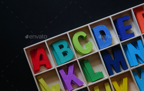 Colorful the wooden english alphabet toy - Stock Photo - Images