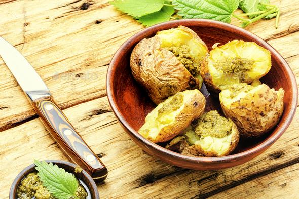 Baked unpeeled potatoes - Stock Photo - Images