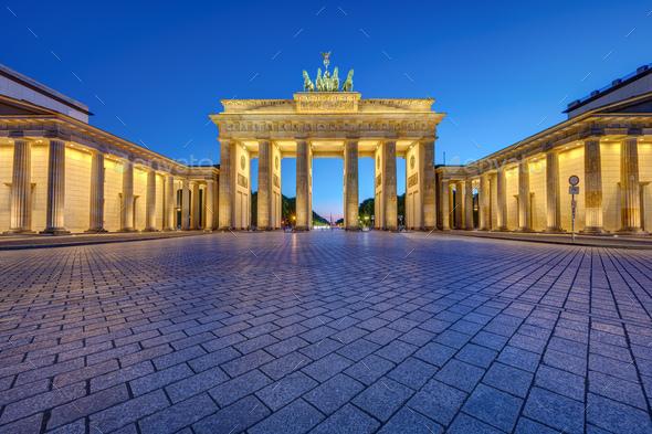 The famous illuminated Brandenburg Gate - Stock Photo - Images