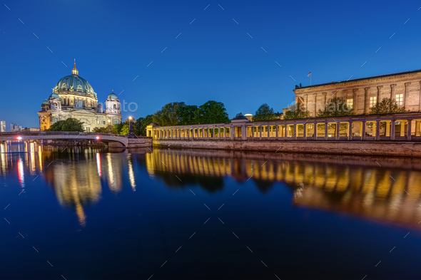 The Berlin Cathedral and the Old National Gallery - Stock Photo - Images