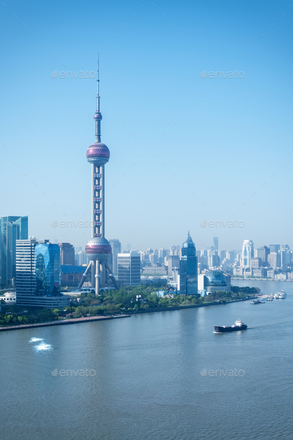 shanghai scenery in morning - Stock Photo - Images