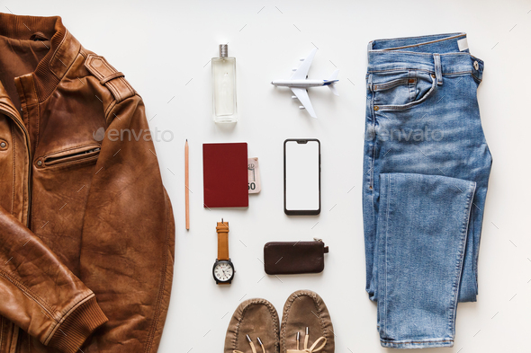 Casual male flat lay hipster summer fashion set of accessories and clothes on white - Stock Photo - Images