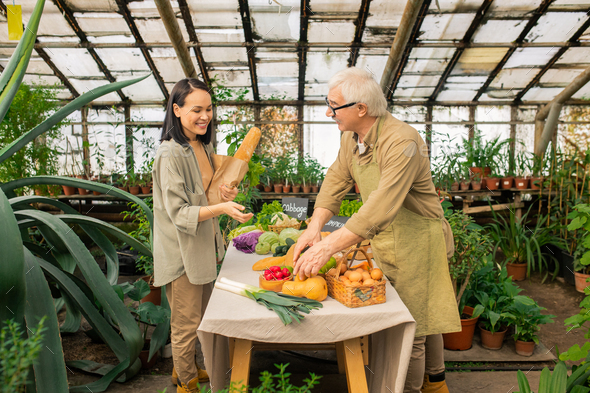 Offering organic product to Asian customer - Stock Photo - Images