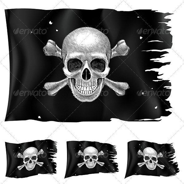 Three Types of Pirate Flag - Objects Vectors