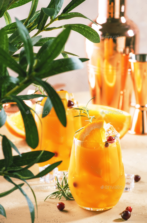 Orange cocktail with cranberry, rosemary and ice - Stock Photo - Images