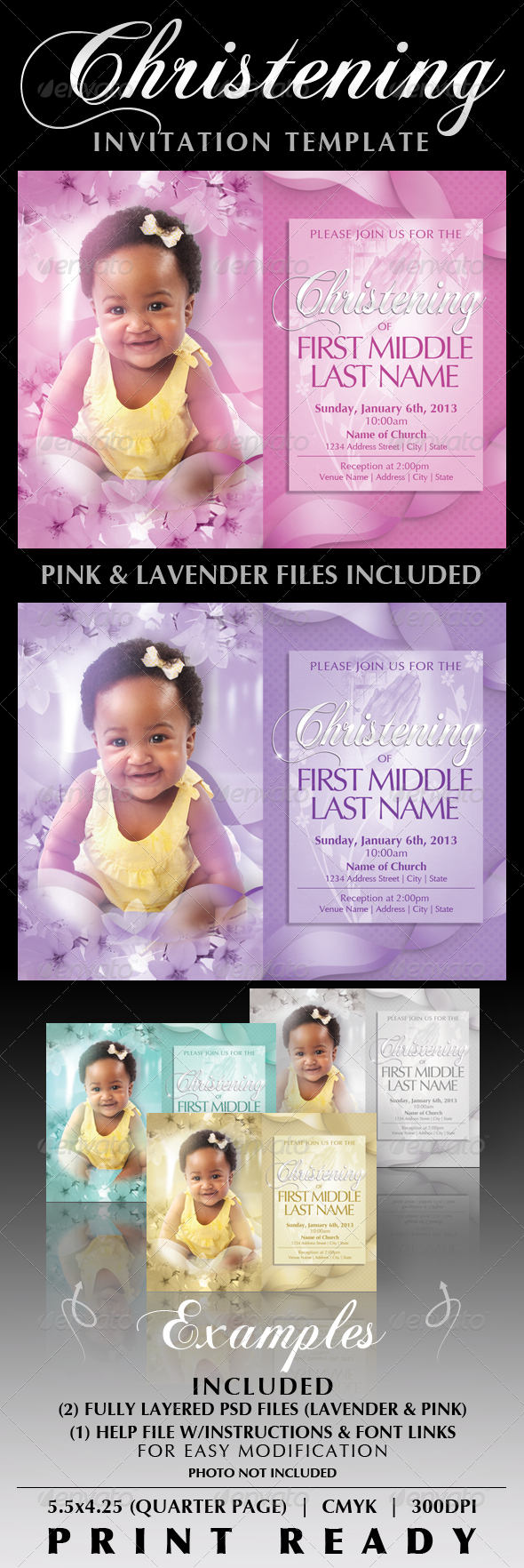 Baby Christening Invitation Templates by CreativB | GraphicRiver