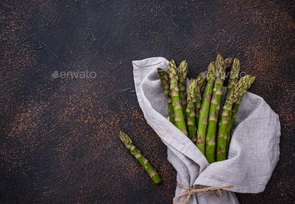 Fresh raw ripe green asparagus - Stock Photo - Images