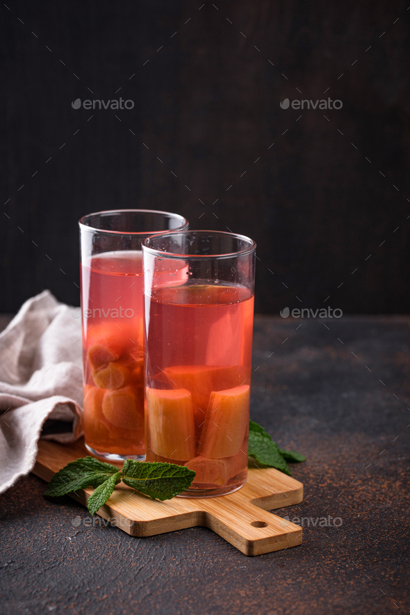 Healthy vitamin rhubarb summer drink - Stock Photo - Images