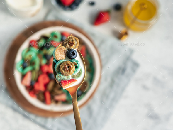 Multi-colored pancake cereal - Stock Photo - Images