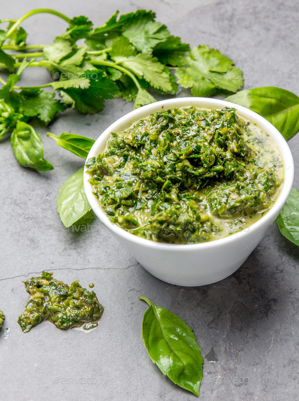 Green chimichurri parsley basil sauce - Stock Photo - Images