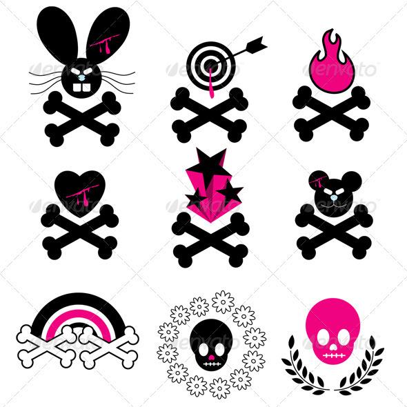 Vector Emo Skull & Bones Icons  - Objects Vectors
